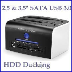 2.5 3.5 USB 3.0 Hard Drive HDD SATA Docking Station Dual Bay Card Reader TF