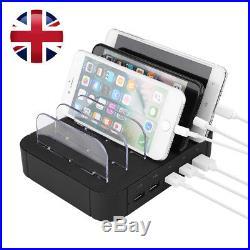5 Port USB Charging Station Dock Stand Desktop Hub Charger For Smartphone Tablet