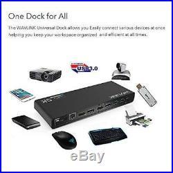 6 USB 3.0 C Type-A Dual 4K Laptop Docking Station 2 HDMI & 2 DP Gigabit Ethernet