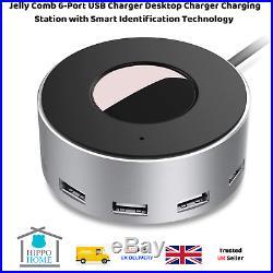 Charging Station Dock USB Multiplier Smartphone Mobile Charger 6 Ports Desktop