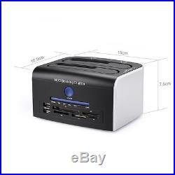 Dual Festplatten Docking Station USB 3.0 SATA HDD Dock 2.5''/3.5'' 2 Festplatten
