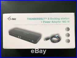 I-tec Thunderbolt 3 Dual 4K Docking Station USB-C to DP Adapter Power Adap. 180W