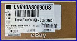Lenovo ThinkPad 40AS0090US USB-C Gen 2 Docking Station (NEW UN-Opened BOX)