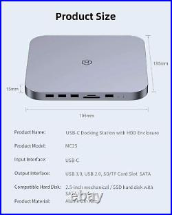 Mac Mini Dock USB-C Hub with SATA Hard Drive Enclosure M1 Fits SSD