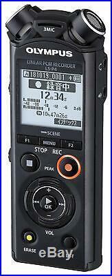 OLYMPUS Linear PCM Recorder LS-P4 BLACK Telephone Pickup Recording NEW