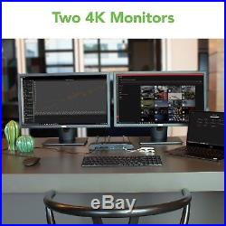Plugable USB 3.0 & USB-C 4K Horizontal Dual Monitor Docking Station (DP, HDMI)