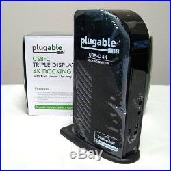 Plugable USB-C 4K Triple Display Docking Station, UD-ULTC4K, HDMI, DisplayPort