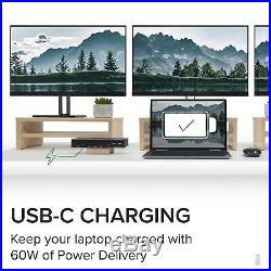 Plugable USB C Triple Display Docking Station with Laptop Charging, Thunderbolt 3
