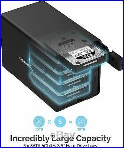 Sabrent USB 3.2 5-Bay 3.5 SATA Hard Drive Tray-Less Docking Station (DS-SC5B)