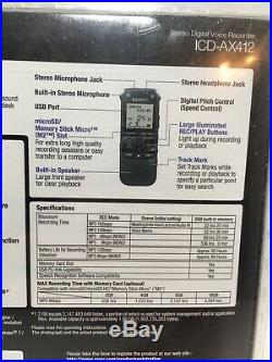 Sony ICD-AX412 Stereo Digital Voice Recorder USB 2.0 WIN & MAC Compatible