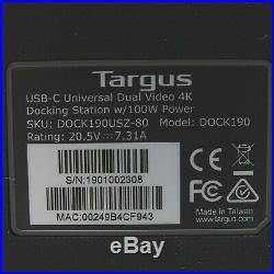 Targus USB-C Universal DV4K Docking Station with 100W Power DOCK190USZ