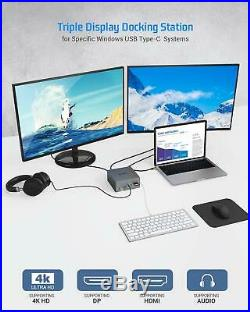 USB-C 4K Triple Display Docking Station with Charging Support for Windows