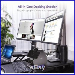 USB-C Dual Display Docking Station Hub 120W Power, USB, HDMI Ethernet SD Card Qi