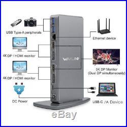 WAVLINK USB 3.0 & USB C Ultra HD/5K Universal Docking Station Dual 4K UG69DK7 A1