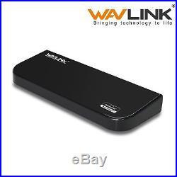 WavLink Universal Laptop Docking Station PC Two Monitor HDMI DVI VGA Audio USB 3